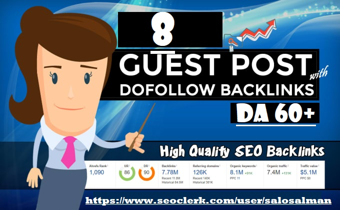I will publish 8 guest post dofolow on DR 70+ high quality and authority sites