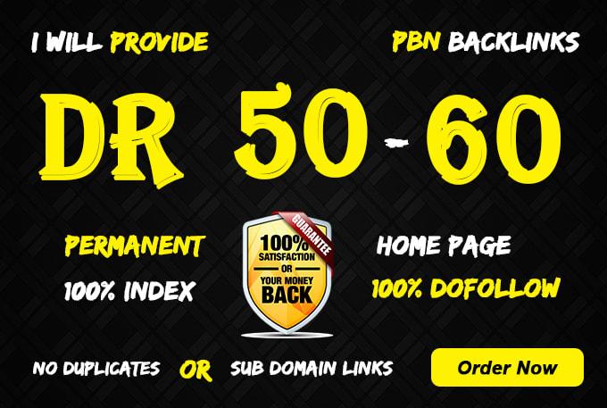 Build 5 PBN DR 50+ homepage parmanent backlinks