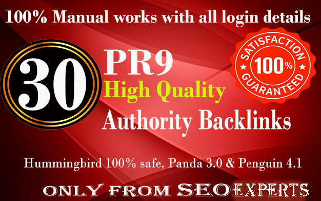 Manually Do 30 Pr9 DA 90+ Safe High Authority Backlinks 30+ Domain HIGH QUALITY BACKLINKS