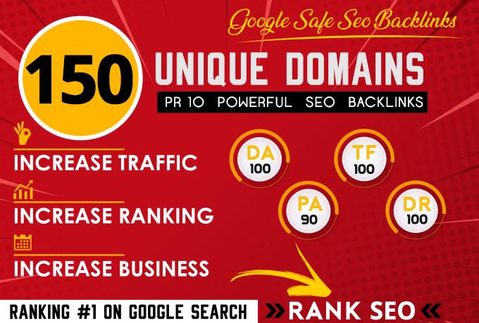 build powerful 150 SEO backlinks on pr10 websites da100 dr70