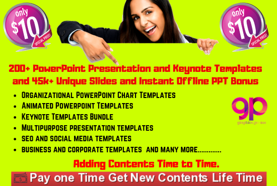 I will give you 200 powerpoint and keynote templates and 45k unique slides and bonus