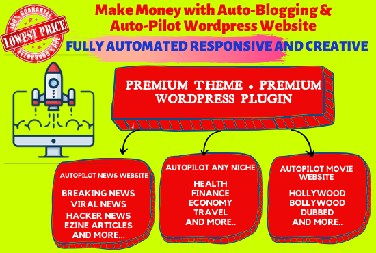 I will give you Autoblogging and Autopilot wordpress website on any niche