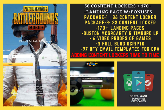 I will give you 36 Content Lockers and 100+ Landing Pages for CPA with Lots of Extra Bonuses