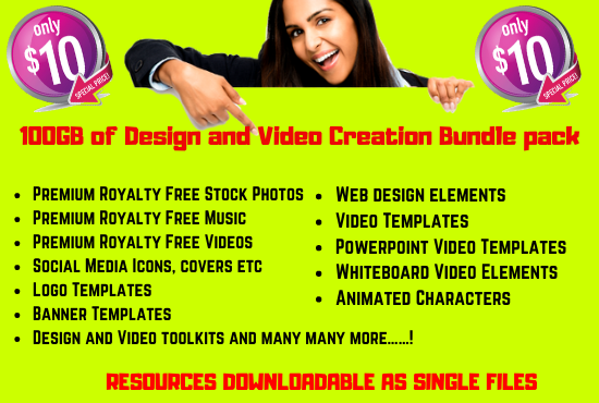 I will give you 100GB of Design and Video Creation Bundle Pack