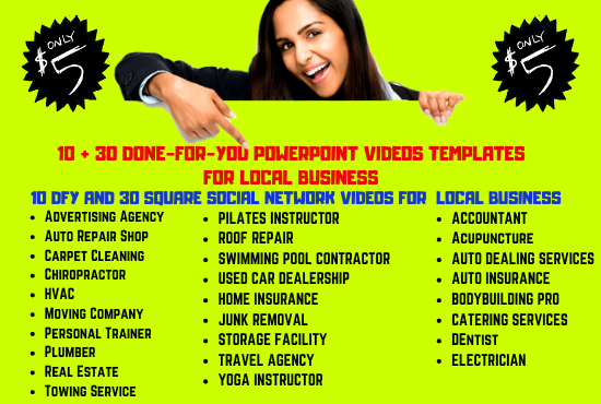 40 Done For You Powerpoint Videos Templates for Local Business