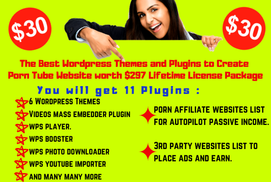 I will give you Autopilot ADULT TUBE Wordpress THEMES and PLUGINS Lifetime License package