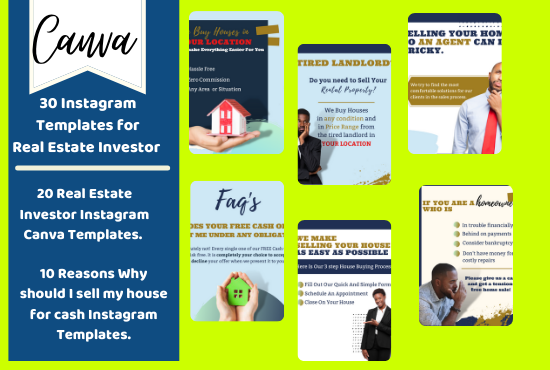 I will give you 30 real estate investor instagram templates fully editable in canva