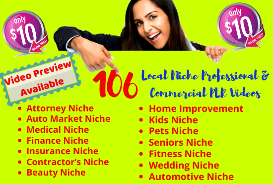 I will give you 106 Local Niche Premade Professional and Commercial PLR Videos
