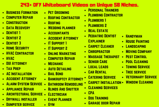 I will give you 243 DFY Whiteboard Videos on Unique 58 Niches
