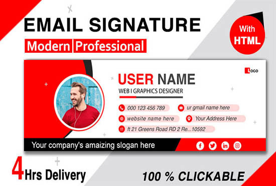code clickable HTML email signature for gmail,  iphone,  outlook