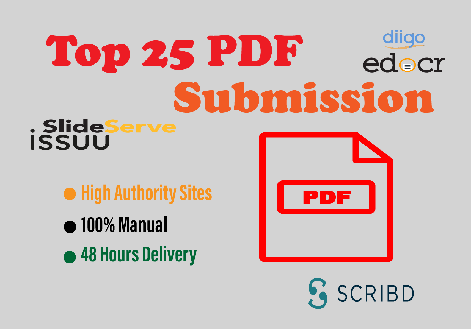 Top 25 Pdf Submission service manually for backlinks or traffic