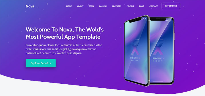 HTML5 Web Template App Landing Page