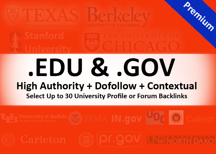 EDU and GOV Backlinks - USA Universities & College - Dofollow - Contextual Profile Backlinks
