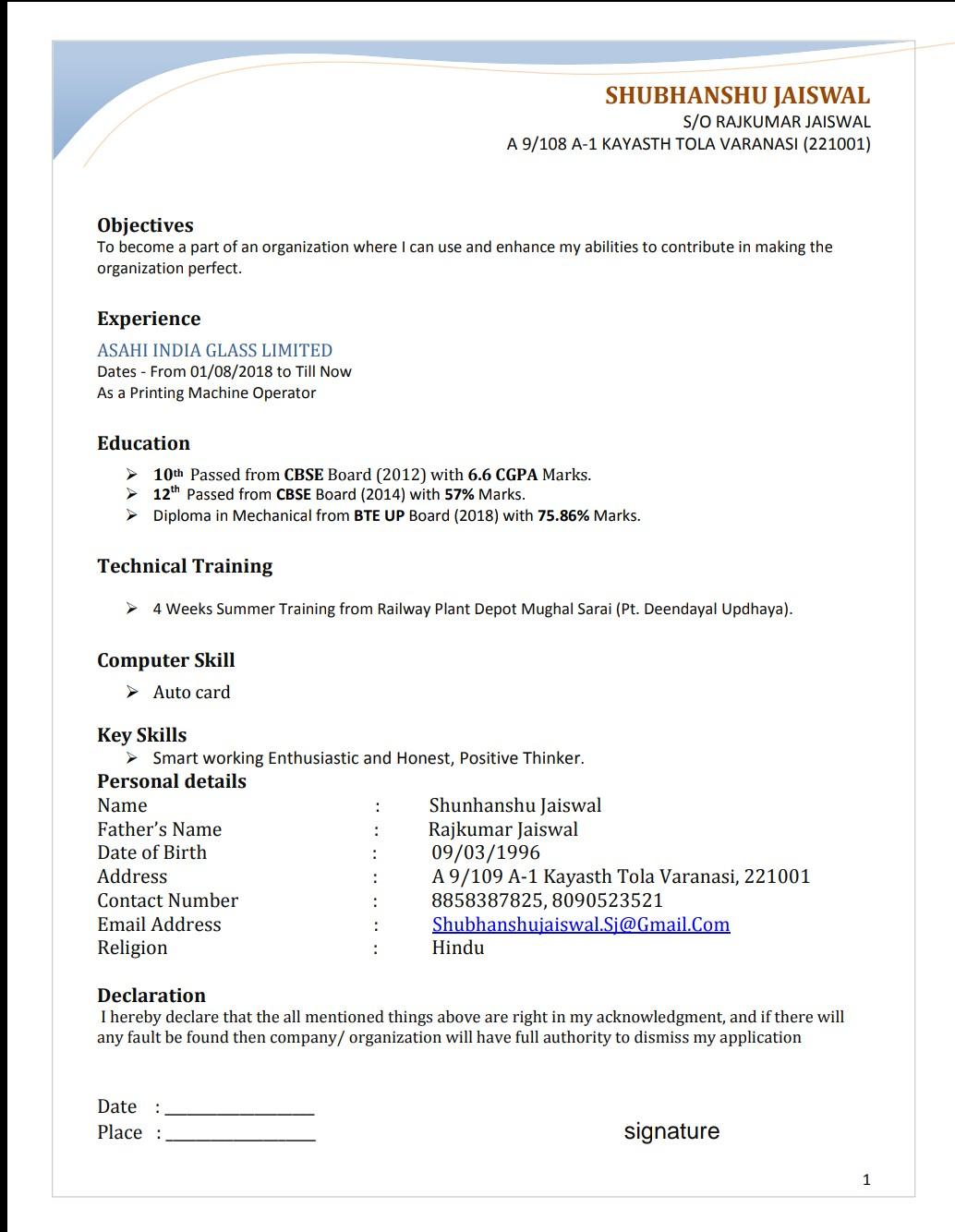 Resume,  Curriculum Vitae,  Bio Data etc maker