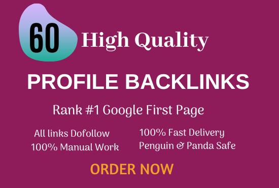 Do 60 Profile backlinks manually for Website