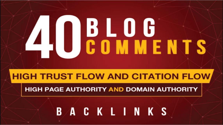 Create provide 40 blog comments high DA, PA, TF, CF