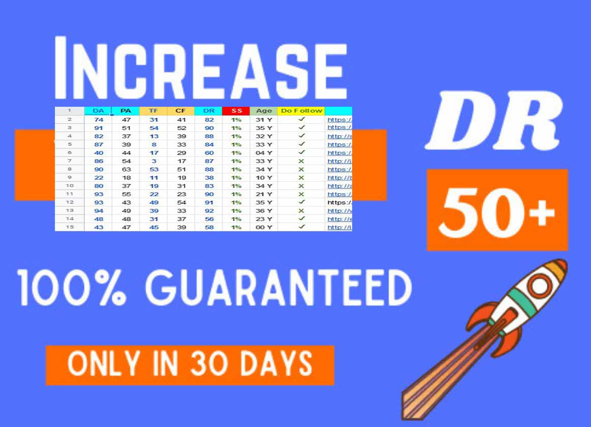 Increase domain rating ahref DR upto 40 to 50 plus