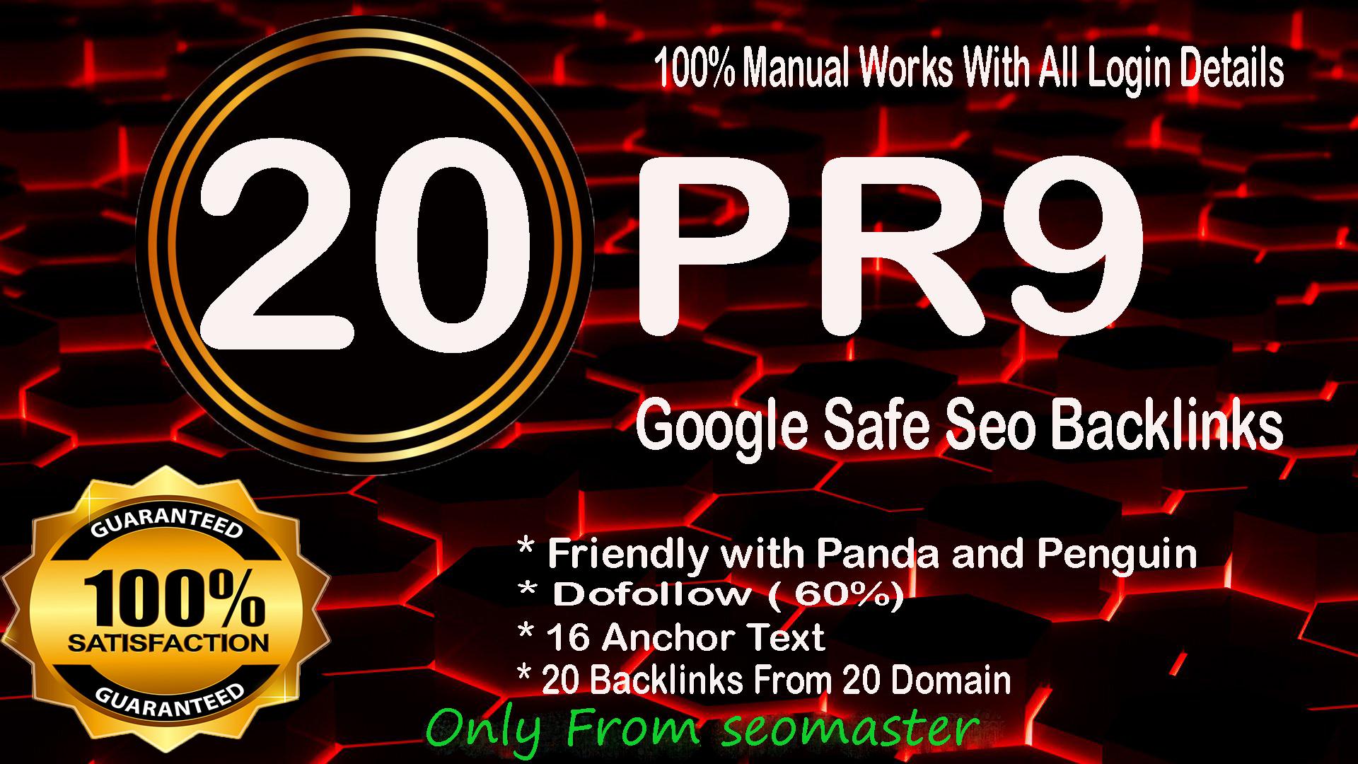 Manually Create DA 80+ High PR9 20 Safe Seo