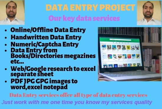 I am Providing Data Entry/Typing Services within 24 hours