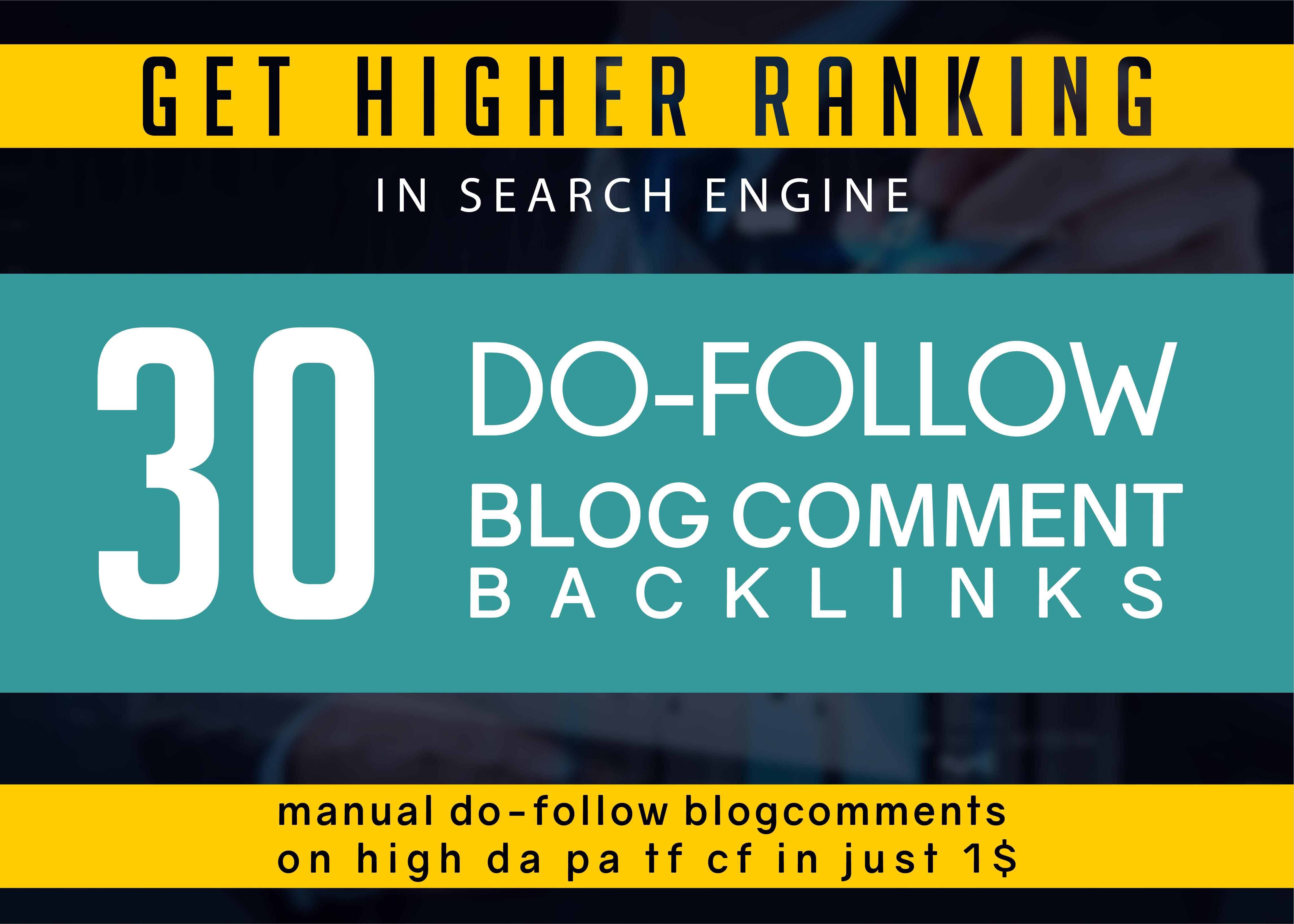 i make 30 Unique domain Dofollow Blogcomment Backlinks
