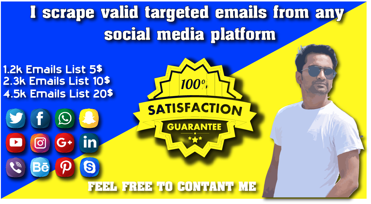 Scrape active targeted 2k mails from any social platform