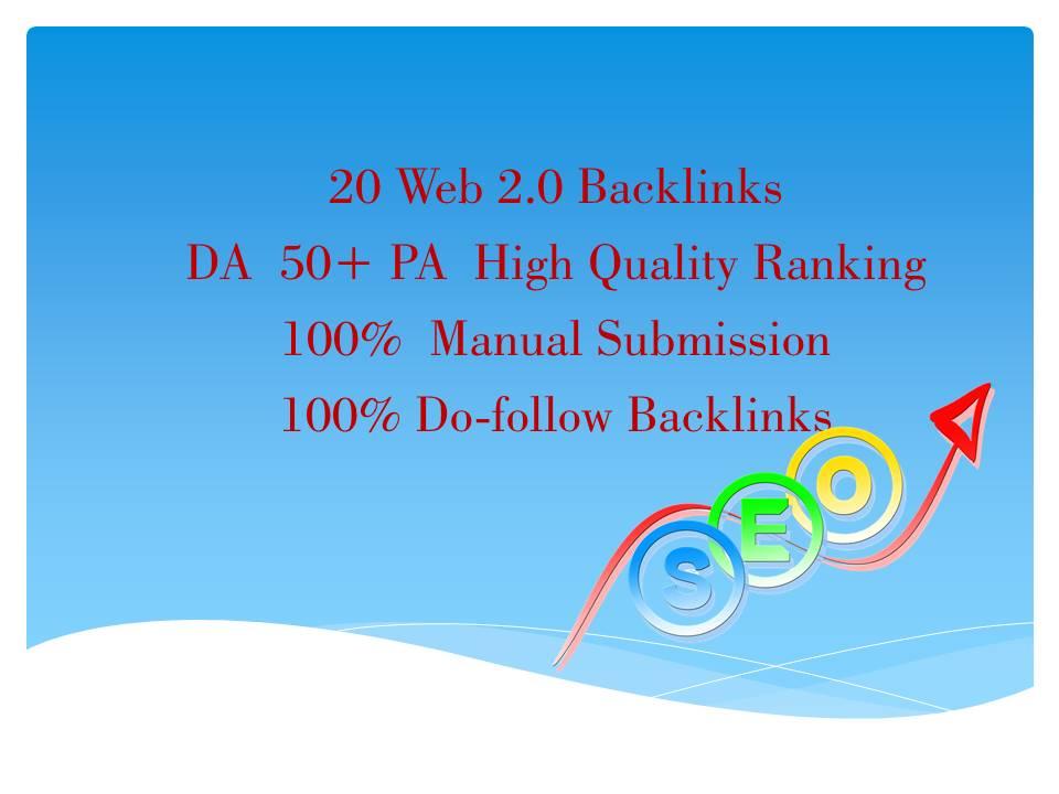 i will do web.2.0 backlinks DA 50+PA High Quality Do-Follow