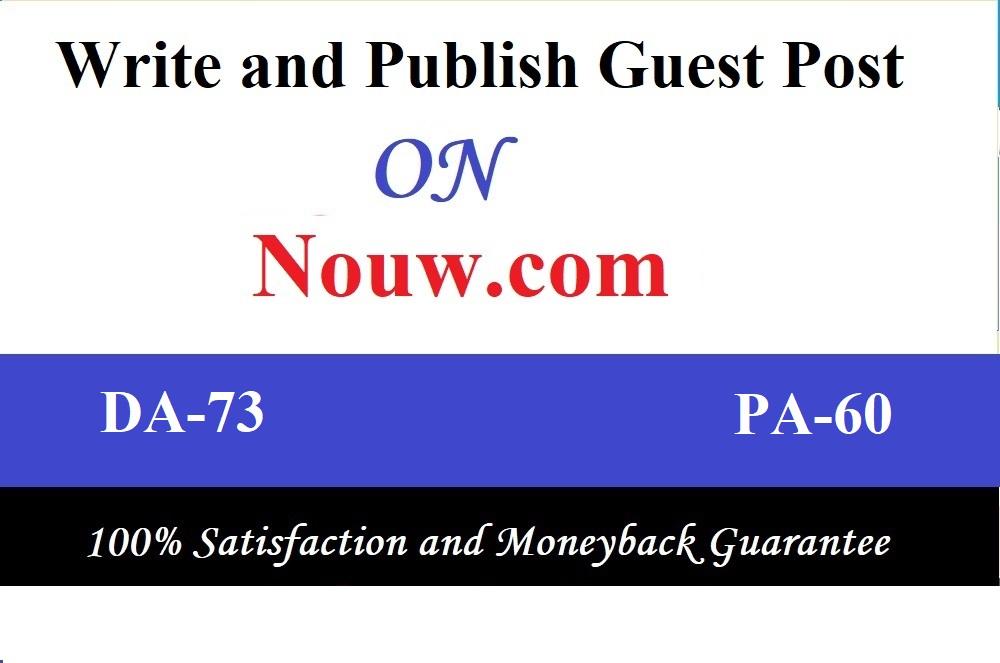 I will Do High Quality Guest post on Nouw,Nouw.com