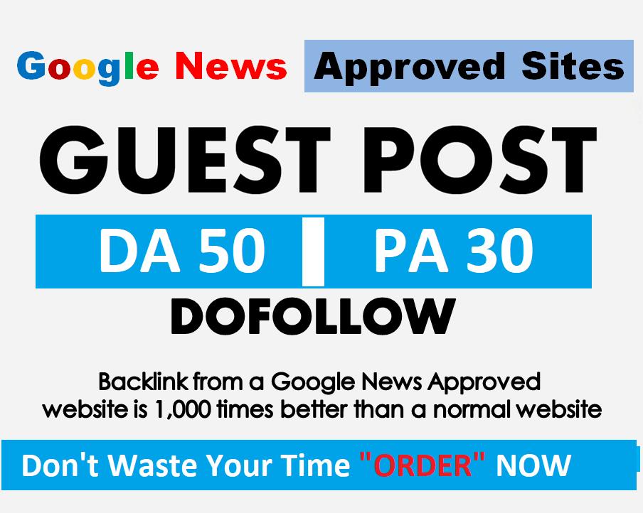 provide guest post google news approved website Da 50
