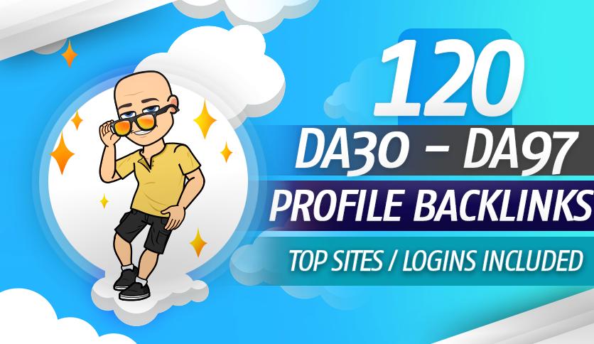 Manually Create 120&ndash DA30 TO DA 97 Profile Backlinks from 120 unique High Authority Domains