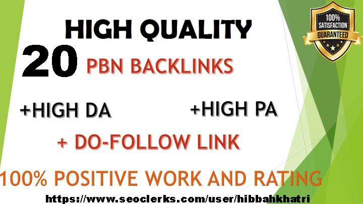 20 High PA/DA TF/CF Homepage PBN Backlinks ranking your website