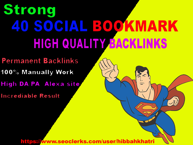 create 40 social bookmark backlinks manually