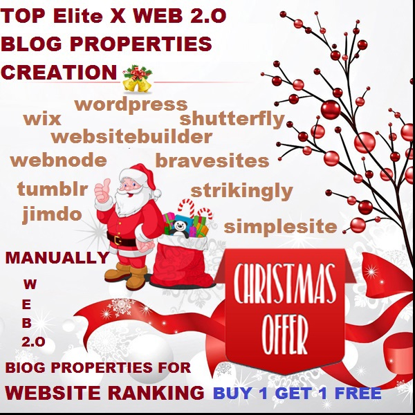 TOP 60 Elite x WEB 2.O Blog Properties Creation For Ranking Website