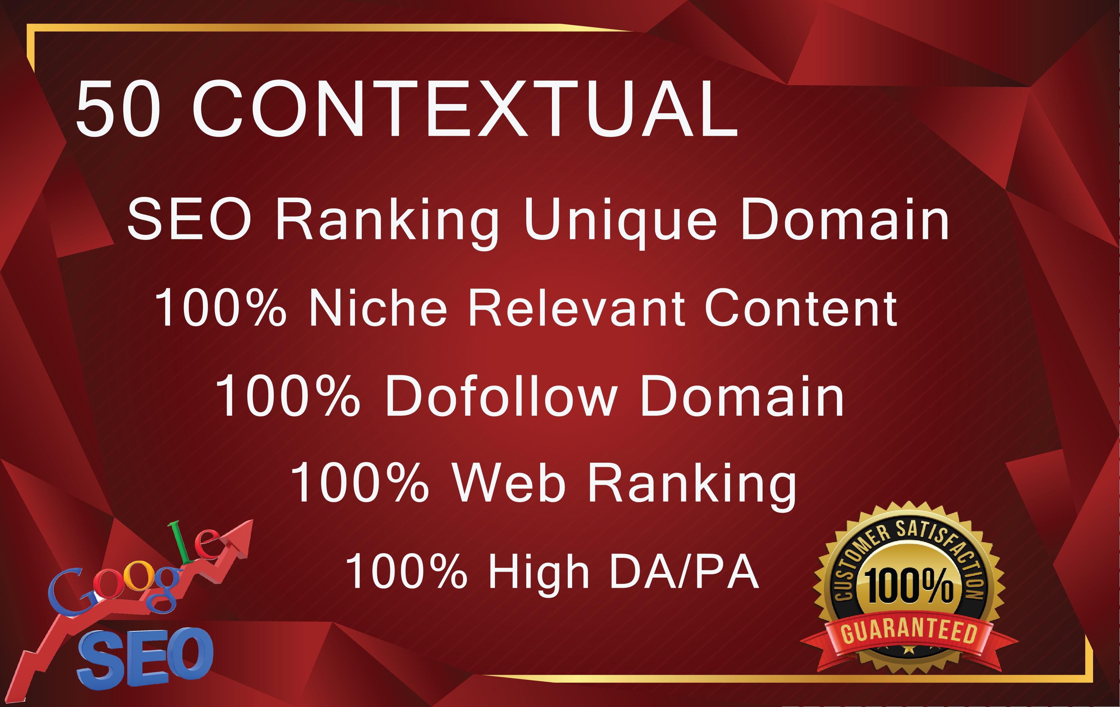 50 CONTEXTUAL SEO Backlinks Dofollow Unique Domain High DA/PA
