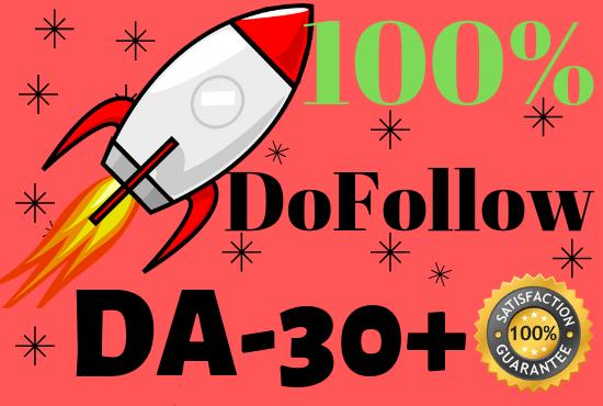 Create 30 DA30+ only DoFollow Backlinks for BEST Google Rankings