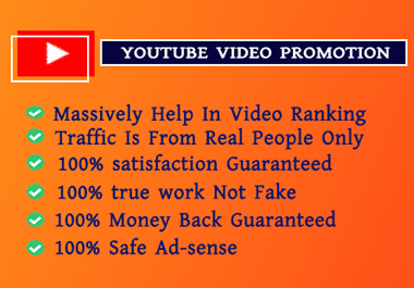 Organic YouTube Video promotion 100 real traffic