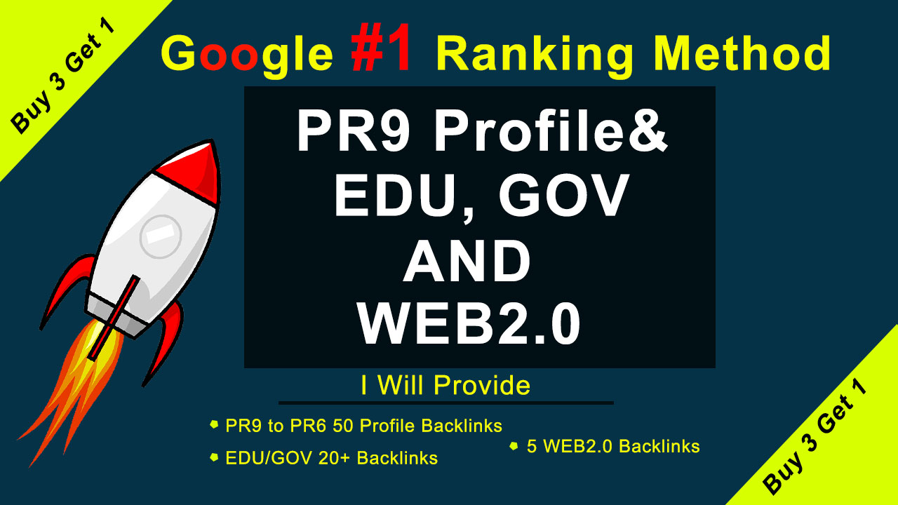 Real Google ranking method with us 50 Pr9,  20 EDU/GOV and WEB2.0 White hat SEO Backlinks