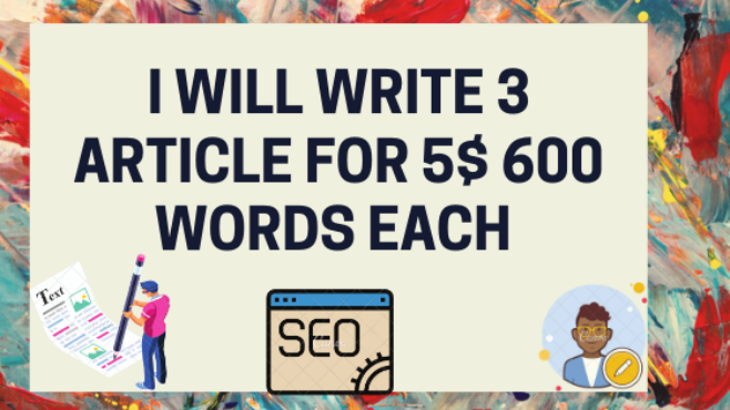 I will write 3x 600 word articles for Blog post.