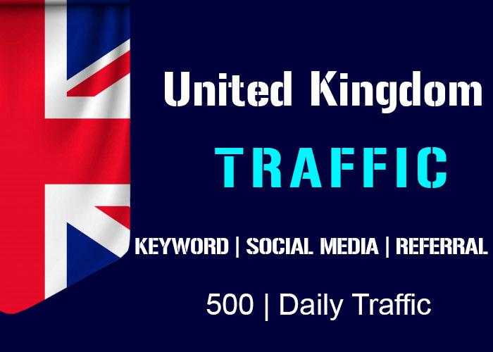 send 500 Daily Uk Organic Keyword ,Social Media,Referral Real Traffic