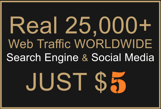 Provide 25,000 Real Worldwide Web Traffic from various social media
