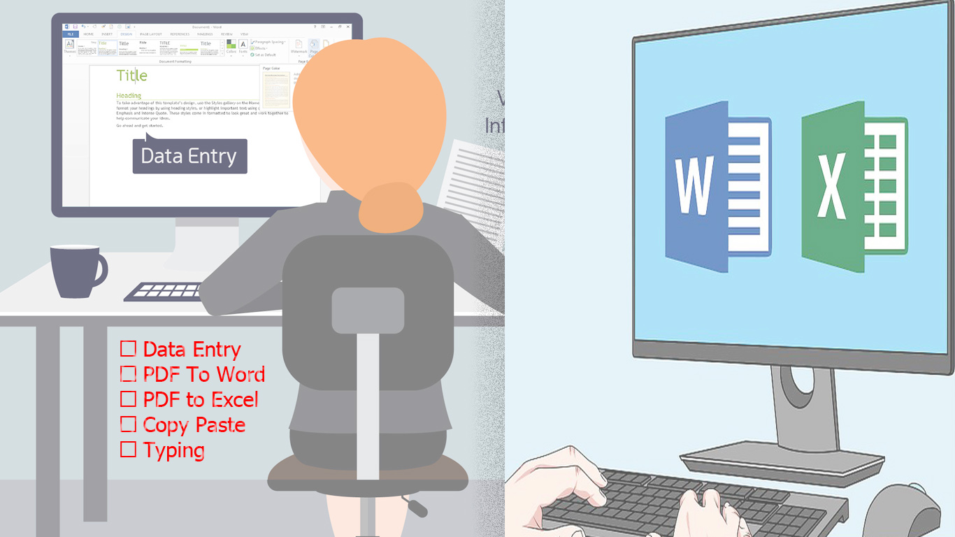 Pdf to Word & Excel,  Data entry,  Typing,  Photoshop,  Copy Paste.