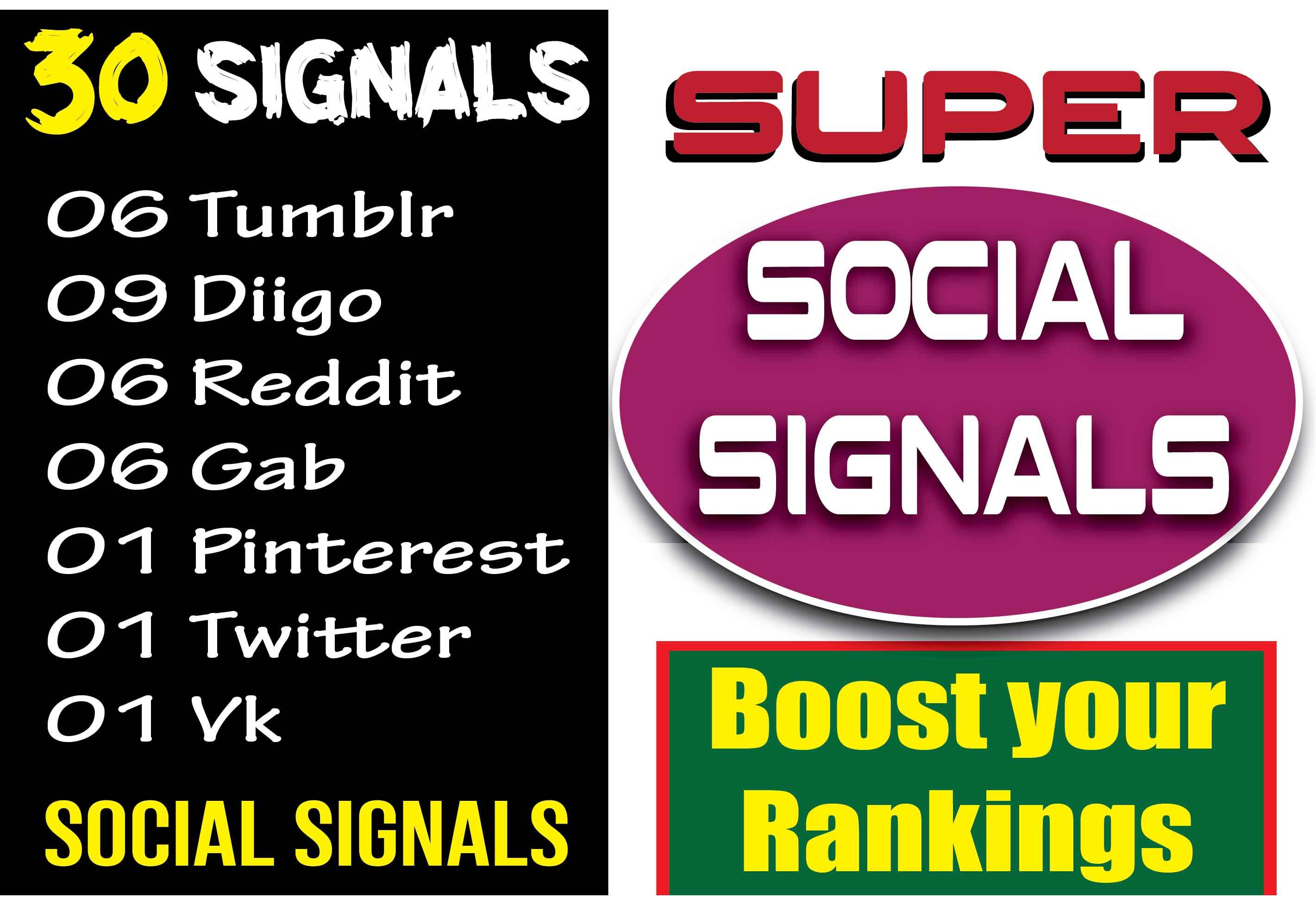6 Tumblr,  9 Diigo,  6 Reddit,  6 gab,  1 Pinterest,  1 Twitter,  1 Vk Signals to increase website traffic