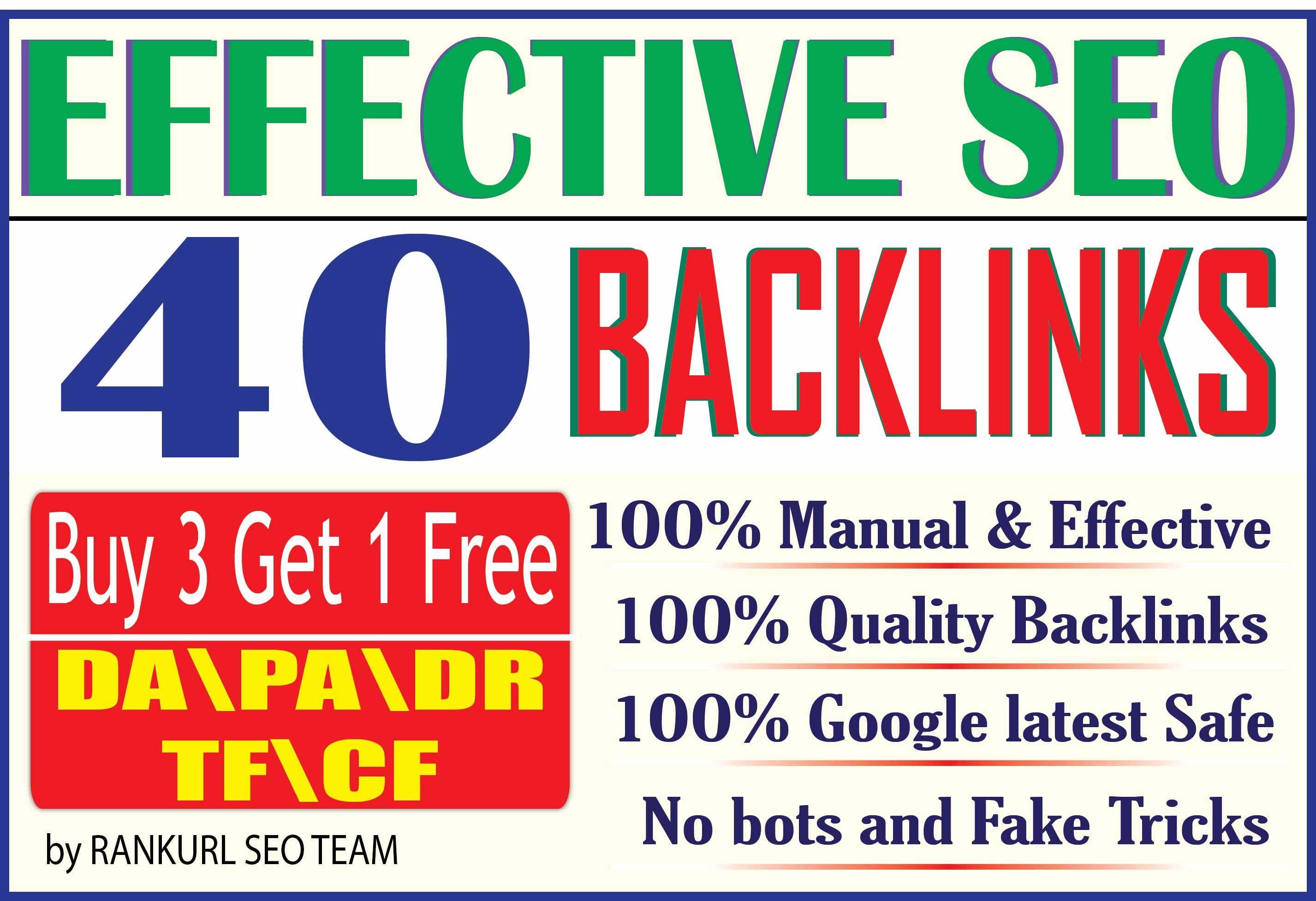 Skyrocket your Ranking by 40 Manual High DA PA DR TF CF SEO Backlinks