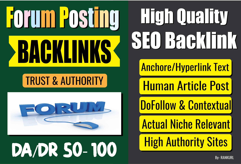 Niche Superstrong 6 Forum Posting Dofollow Contextual SEO Backlinks Manually for Google's Top Rank