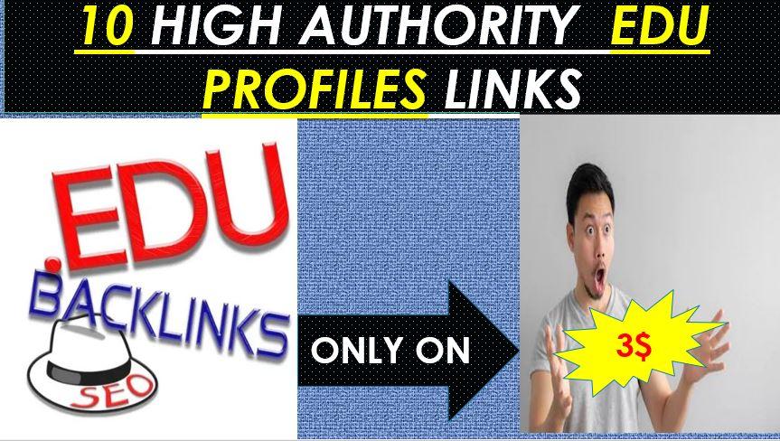 Provide Do follow 10 EDU high authority Profiles backlinks