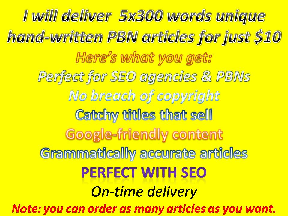 5 unique copyscape passed articles for your PBNs