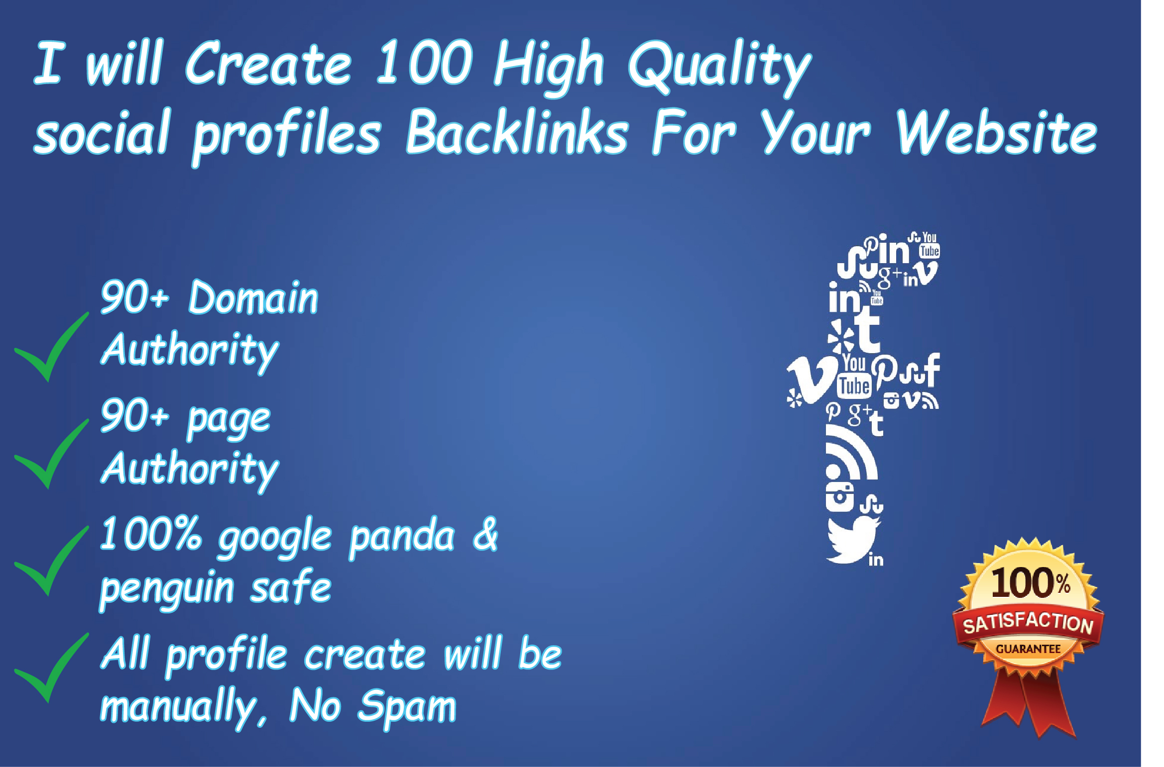 I will create top 50 HQ profile creation or social profile backlinks