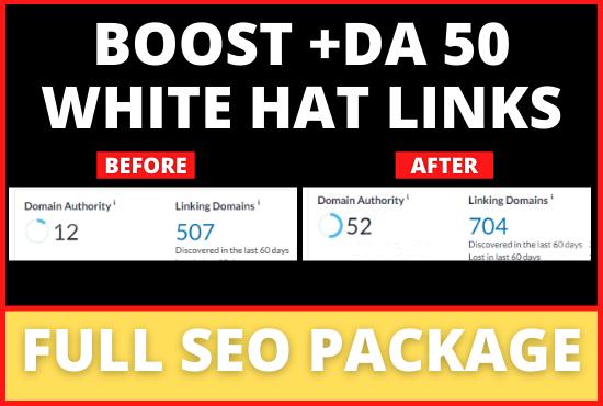 Increase MOZ Domain Authority DA 50 White Hat Backinks