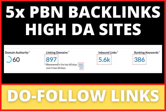 5x PBN DoFollow Backlinks On High DA Sites