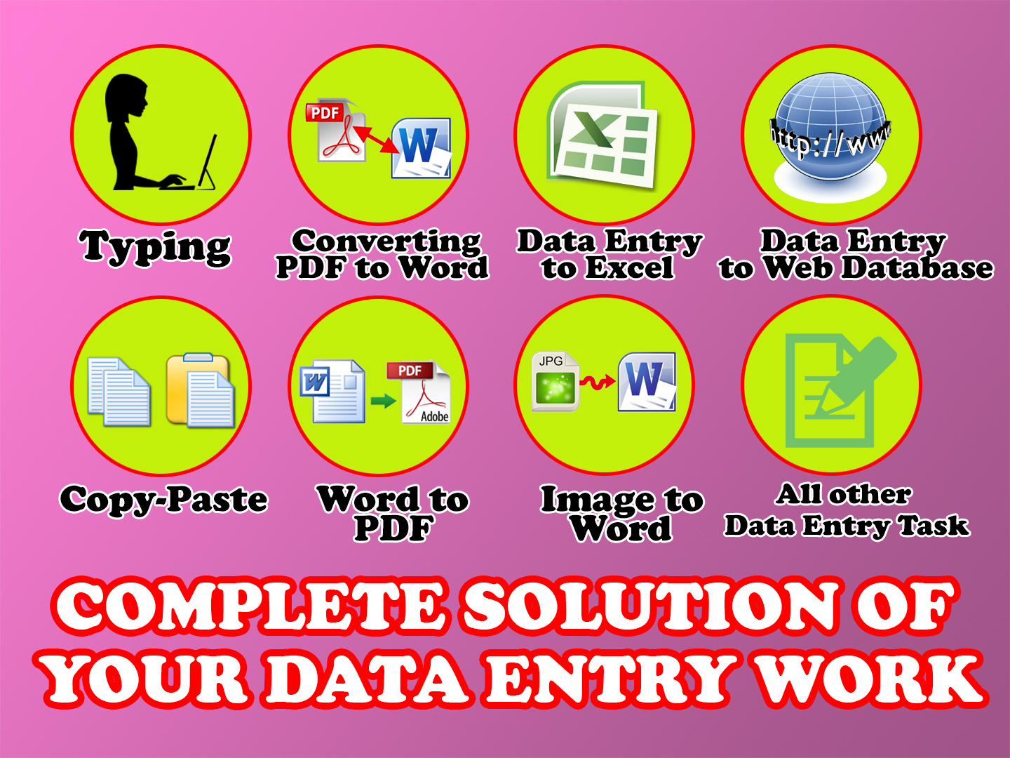 I can do all types of data entry Task