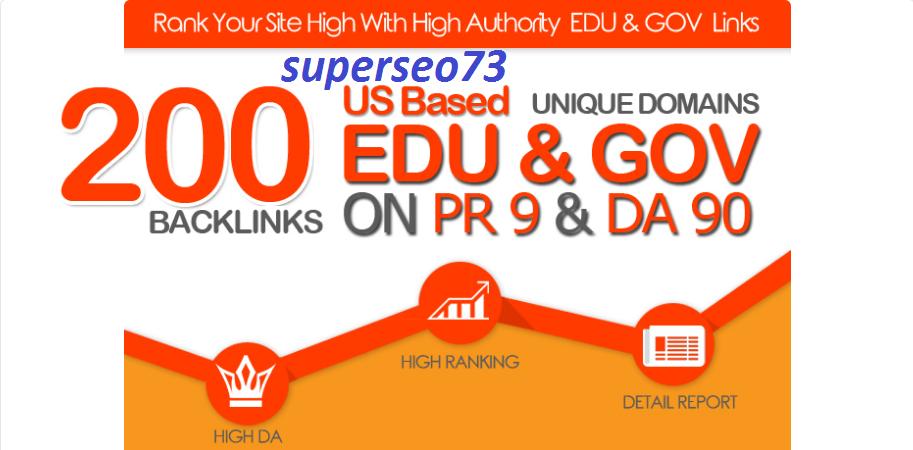 I will MANUALLY DO 200 PLUS US BASED EDU GOV LINKS ON DA90 PR9 UNIQUE DOMAINS for 10